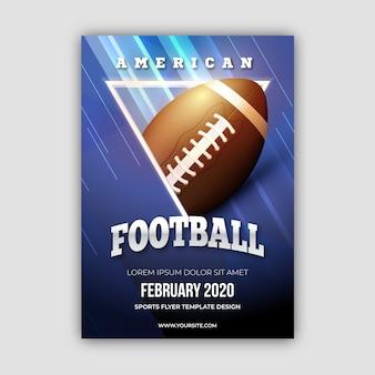 Plakat des amerikanischen fußballs mit ball