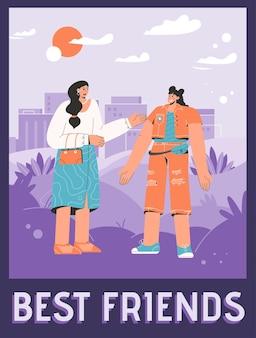 Plakat des best friends-konzepts. fröhliche frauen begrüßen sich und freundliche unterhaltung.