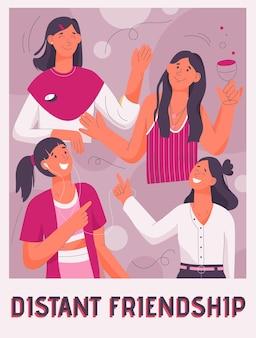 Plakat des entfernten freundschaftskonzepts