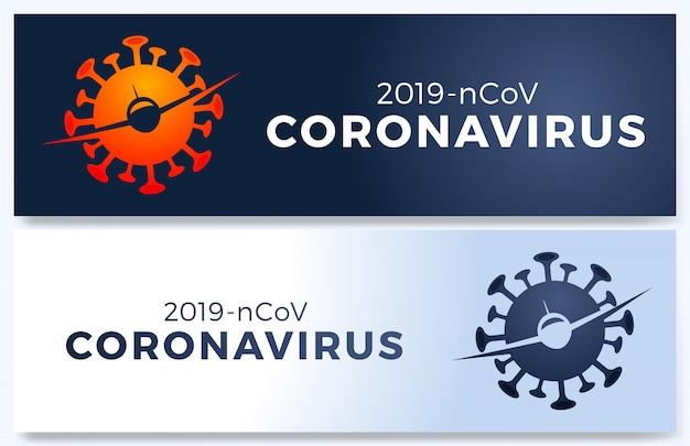 Plakat des fluges annulliert mit einfachem, virus 2019-ncov und verbotenem zeichen auf isoliertem weiß. flug abgebrochene illustration, pandemic novel coronavirus-krankheit. auswirkungen des corona-virus covid-19.