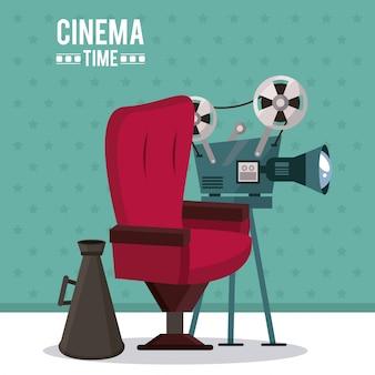 Plakat des kinos mit filmprojektor und direktorstuhl