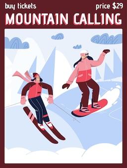 Plakat des mountain calling-konzepts. glückliche frauen beim skifahren und snowboarden in der abfahrt.