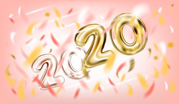 Plakat des neuen jahres 2020 im süßen rosa