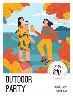 Plakat des outdoor-party-konzepts