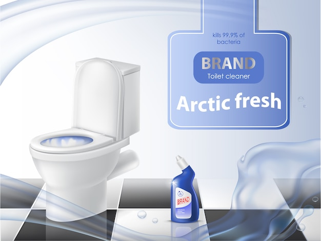 Plakat des reinigungsmittels, reinigungskonzept, realistische toilettenschüssel, flüssiges desinfektionsmittel