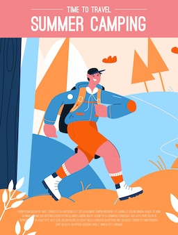 Plakat des sommercamping- und zeitreisekonzepts