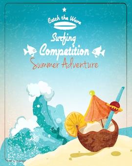Plakat des surfwettbewerbs