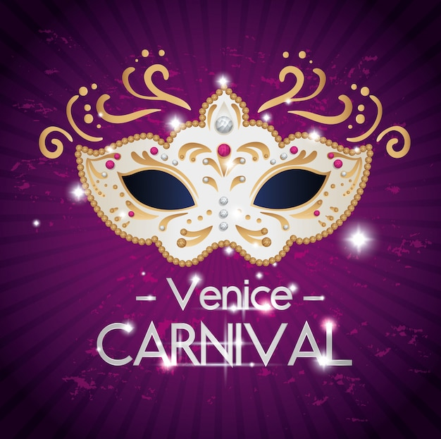 Plakat des venedig-karnevals mit maske