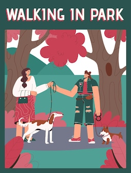 Plakat des walking in park-konzepts. professioneller haustierwanderer, der hund an der leine nimmt.