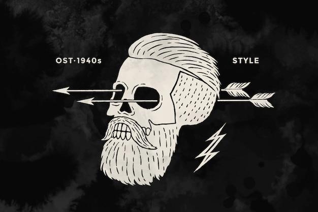 Plakat des weinlese-schädel-hipster-etiketts. retro old school set für t-shirt druck. schwarz und weiß. illustration
