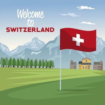 Plakat des willkommens von der schweiz mit wald- und fassadenhäusern mit nahaufnahmeflagge