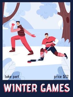 Plakat des winterspielkonzepts. glückliche männer, die hockey spielen und schlittschuh reiten.