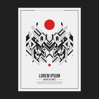 Plakat- / druckdesignschablone mit symmetrischem abstraktem element auf weißem hintergrund. nützlich für buch- und zeitschriftenhüllen.