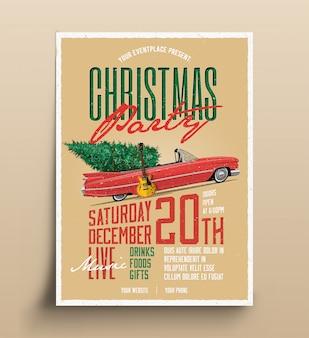 Plakat-fliegerschablone des weihnachtsfestes retro- für live-musikereignis mit auto und weihnachtsbaum und e-gitarre