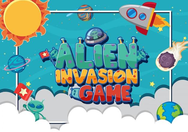 Plakat für alien-invasionsspiel mit aliens