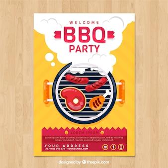 Plakat für die grillparty im flachen design