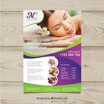 Plakat für ein badekurortzentrum mit einem foto