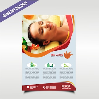 Plakat für einen badekurort mit roter themafarbe