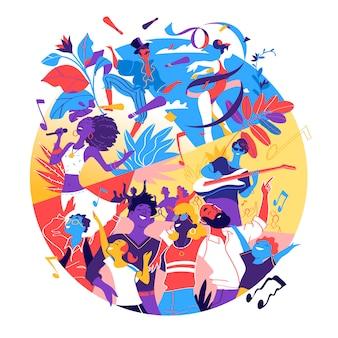 Plakat für festival, feier, urlaubsparty. gruppe von menschen glücklich, zusammen ein besonderes ereignis zu feiern