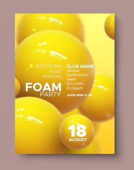 Plakat für festivalwerbung für elektronische musik. moderne vereinschaum-party einladung