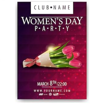 Plakat für frauentagsparty mit strauß tulpen