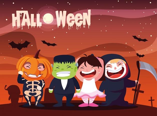 Plakat für halloween mit süßen kindern