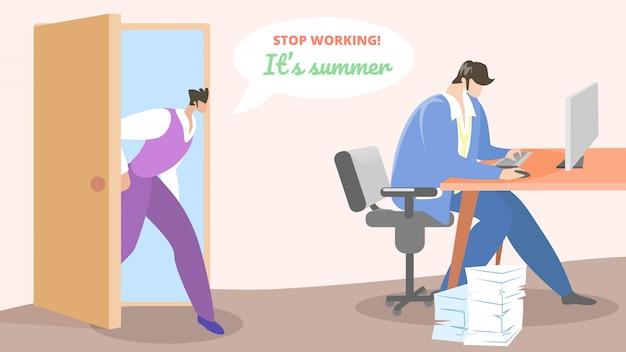 Plakat für mitarbeiter hört auf, im sommer zu arbeiten