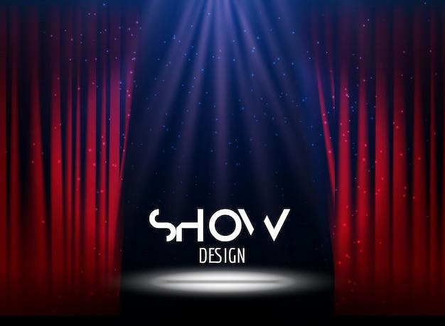 Plakat für show mit vorhang und bühne