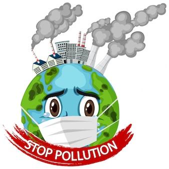 Plakat für stop verschmutzung mit erde tragende maske