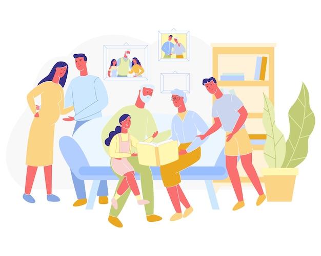 Plakat-große familie verbringt zeit zusammen karikatur.