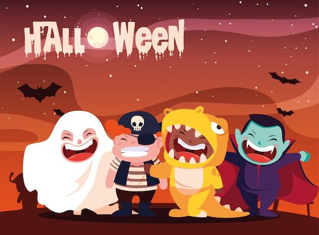 Plakat halloween mit den kindern verkleidet