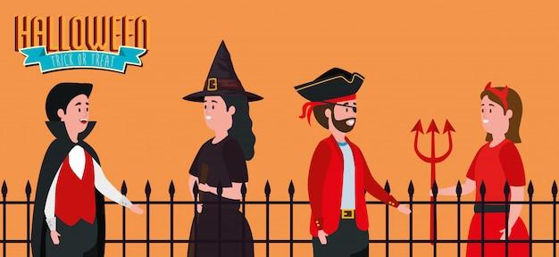 Plakat halloween mit der gruppe von personen verkleidet