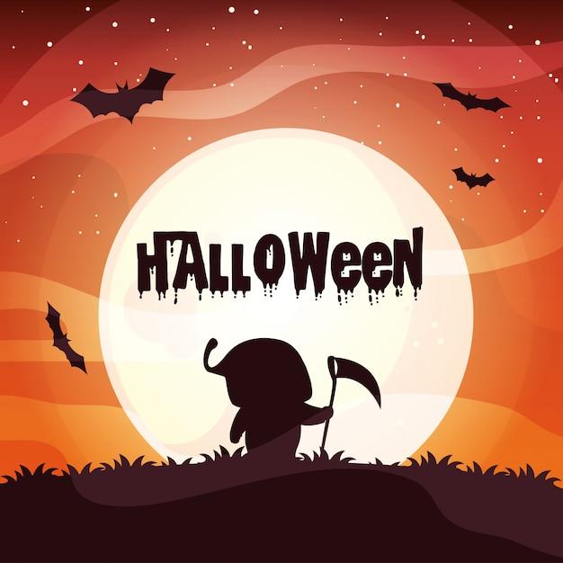 Plakat halloween mit jungen verkleidetem todesschattenbild