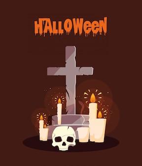 Plakat halloween mit kerzen und schädel