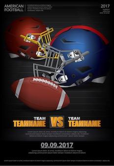 Plakat-illustration des amerikanischen fußballs