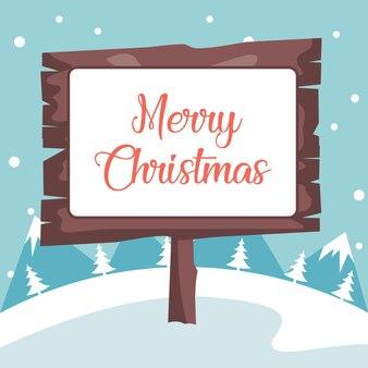 Plakat in der winterlandschaft mit schnee der frohen weihnachten