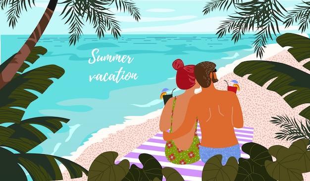 Plakat, karte oder abdeckung mit einer illustration eines paares auf einem hintergrund von blauem meer und von tropischen blättern.