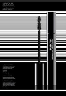 Plakat-kosmetische wimperntusche mit verpackungsvektor-illustration