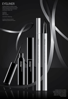 Plakat-kosmetischer eyeliner mit verpackungsvektor-illustration
