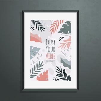 Plakat mit abstrakten botanischen formen