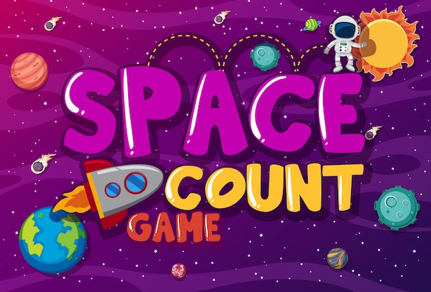 Plakat mit astronaut und raketenschiff in lila galaxie
