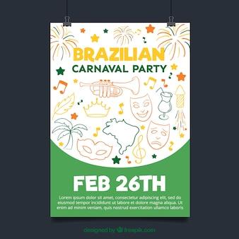 Plakat mit brasilianischen karneval skizzen