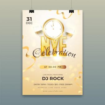 Plakat mit countdown-timer, weingläsern und details zum veranstaltungsort für die feier von nye (silvester).