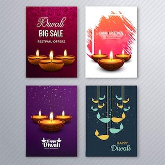 Plakat mit einem diya für diwali bunte flyer vorlage