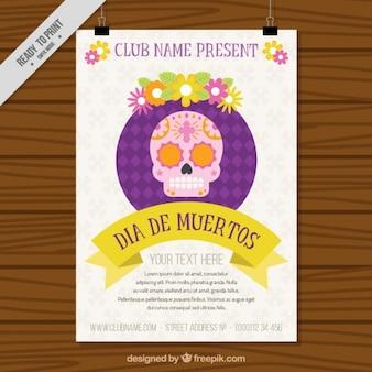 Plakat mit einem mexikanischen schädel für den tag der toten
