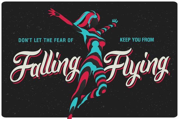 Plakat mit fliegender frauenillustration
