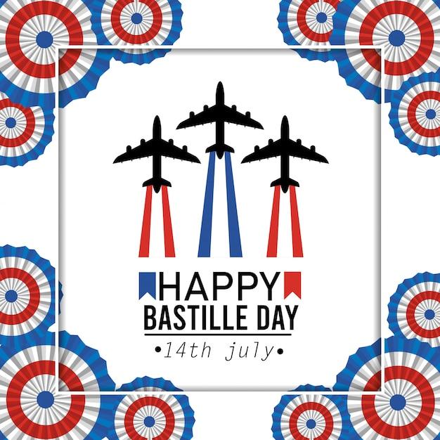 Plakat mit flugzeugfeier und frankreich-dekoration