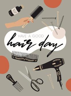 Plakat mit haarschnittelementen.