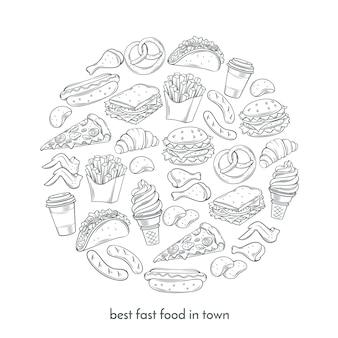 Plakat mit handgezeichnetem fast food