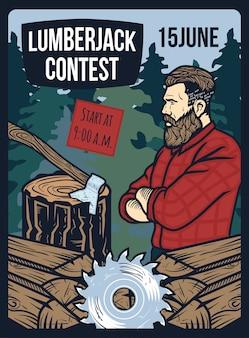Plakat mit illustration des holzfällerthemas: brennholz, bohrer, stumpf und eine axt im holz.